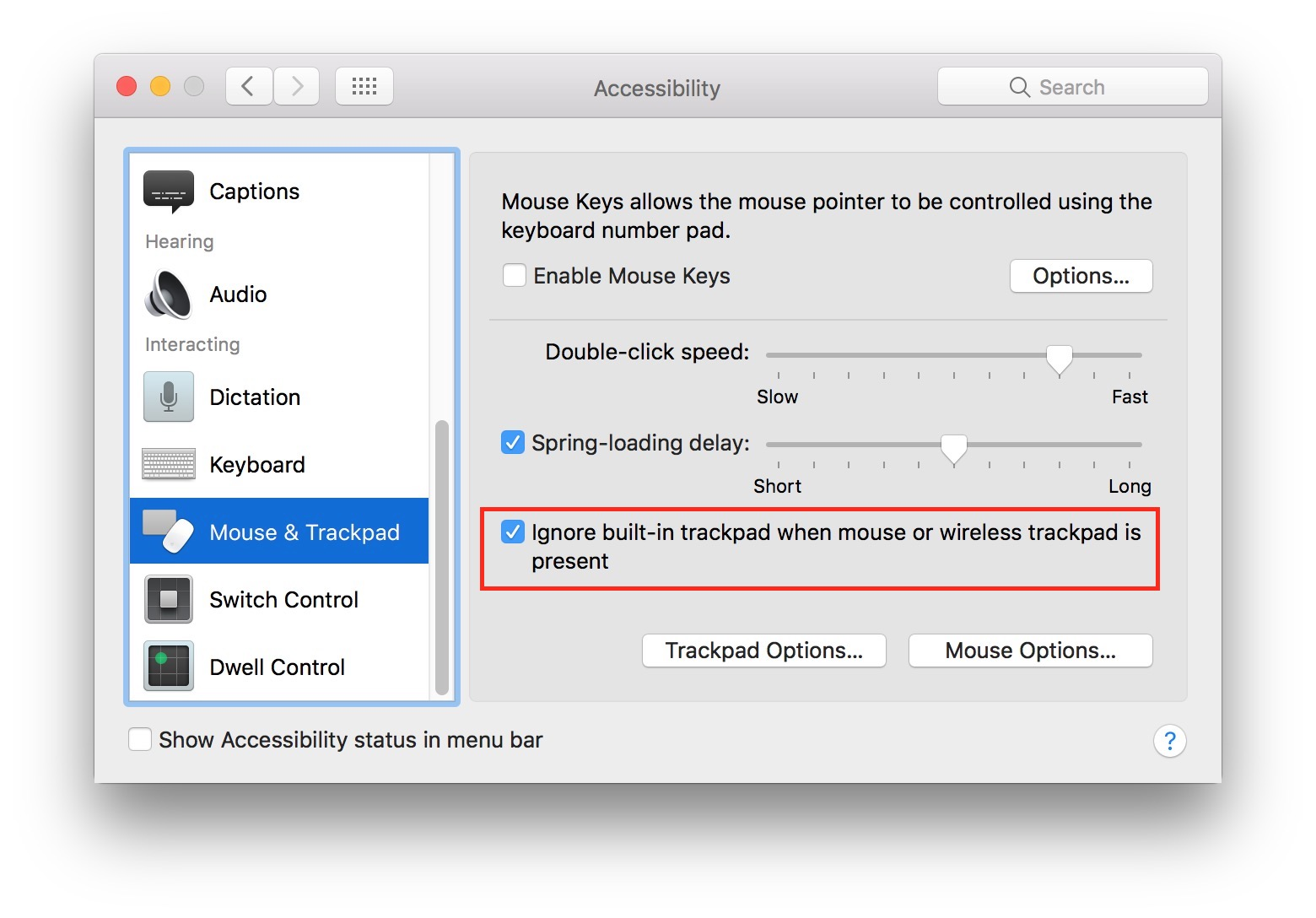 disable touchpad mac 2